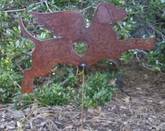 Rusty Finish Metal Catahoula Dog Garden Art Yard Stake Memorial Angel