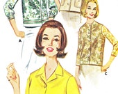 Womens Blouse Pattern Butterick 2683 Loose Fitting Collarless Blouse Convertible Collar 1960s Womens Vintage Sewing Pattern Bust 36