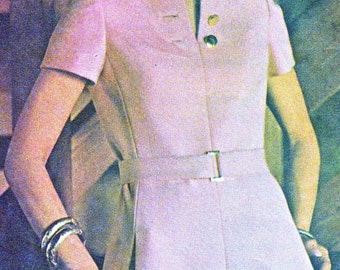 1970s Dress Pattern McCalls 2445 Mod A Line Split Neckline Day Evening Dress Womens Vintage Sewing Pattern Bust 32 1/2