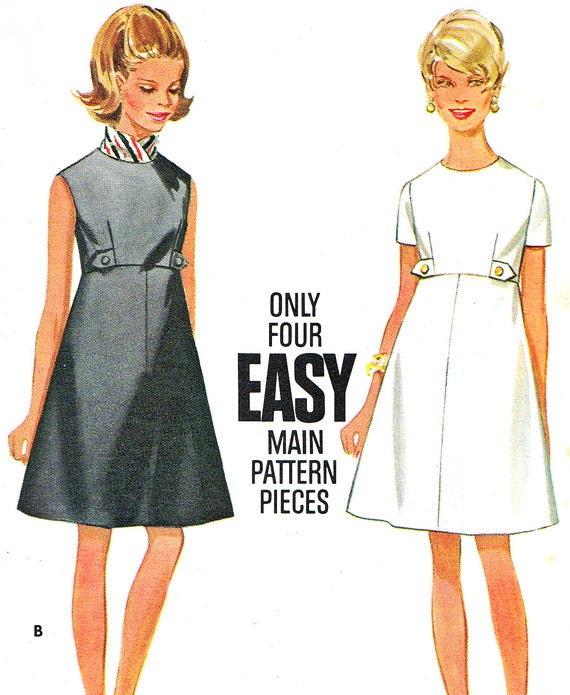 Butterick 4997 Mod Empire Waist A Line Day Or Evening Dress