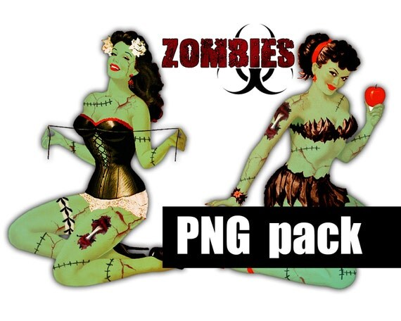 ZoMBIE PIN-UPS - Digital Printable Collage Sheet - Retro Undead Pin-Up Girls, Zombie Apocalypse, Halloween, Png Instant Download