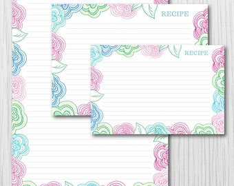 Flower RECIPE CARDS 3 Sizes - Printable DIY - Instant Download - Item 142