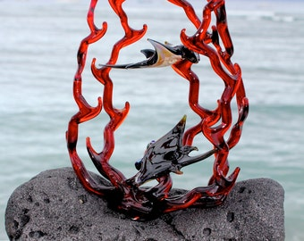 Manta ray in coral glass sculpture