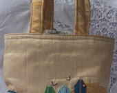 Fun Tote, Bucket style handbag, in 'Beach Hut' No 5 of the series. Ready to ship
