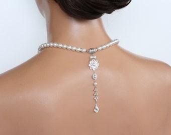Bridal Pearl Necklace Back Drop Wedding Necklace Vintage Style Bridal Necklace Wedding Jewelry CLARE 2