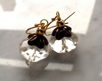 Rock Crystal Earrings with old gold Czech glass beads 14k GF beadtip earwires