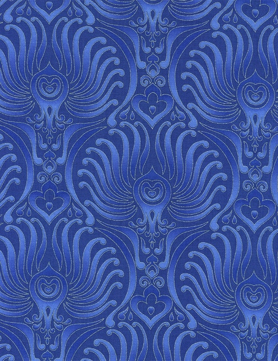 Peacock blue large feathers silver metallic timeless treasures for Galaxy fabric canada