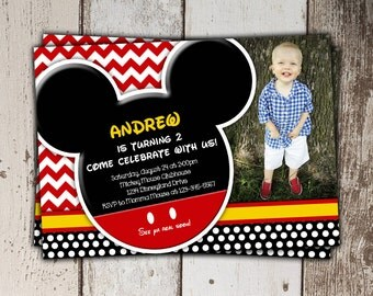 SALE - Mickey Mouse Invitations with picture - Birthday - print yourself JPG - Style 2