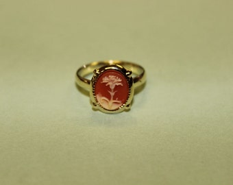 Tiny Red Carnation Cameo Ring