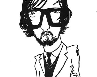 Jarvis Cocker linocut portrait