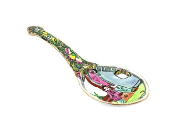 1950s Asian Spoon Rest, Hand Painted Rose Medallion Style