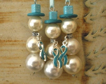 Ovarian cancer awareness set of 3 snow women ornaments ivory pearl teal awareness ribbon charm glass beads snowman ornament