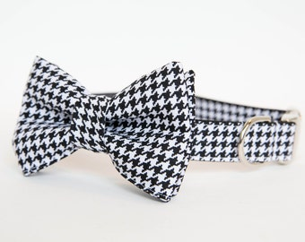 Dog Bow Tie Collar - Black and White Houndstooth