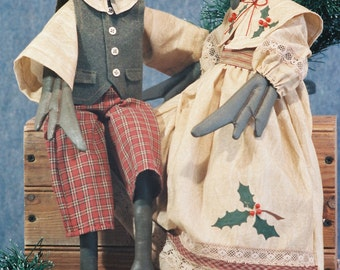 Cloth Doll E-Pattern - 20in Christmas Geese Dolls Epattern