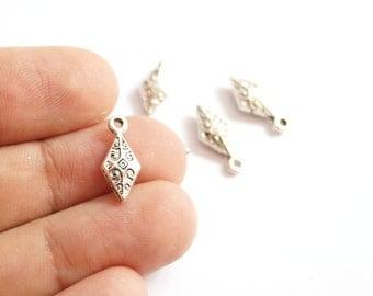 6pcs- Matte Silver plated little diamond spike charm-15x6mm-(419-023SP)