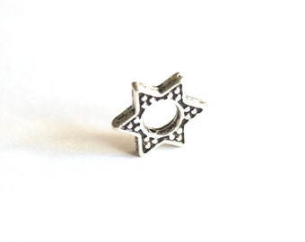 5pcs - Oxidized Silver Plated Base Six Point STAR  Charms -Star 13x13mm (408-007SP)