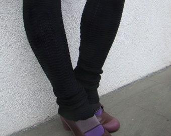Leg Warmers Black Pure Merino Wool Spats Woolen Black Soft Warmers Zigzag Chevron Merino Legwear Footless Socks Jambieres Noires en Laine