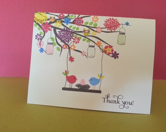 Baby thank you notes, Baby Stationery Garden Birds (set of 10)