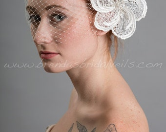 Venetian Birdcage Veil Set, Bridal Veil With Lace Flower, Wedding Veil Set, Bridal Lace Flower