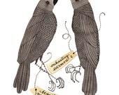 Raven Specimens Print, unrequieted love, halloween, black birds, bird art, watercolor print