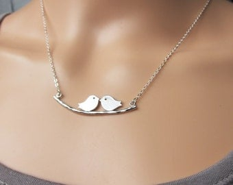 Love Birds Kissing on Tree Branch - White Gold Couples Necklace  (R1E1)