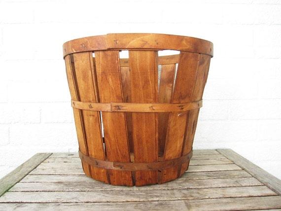 Vintage Large Wood Basket - Wooden Bushel Apple Basket - Rustic Shabby Chic Storage