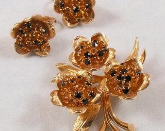 Vintage Floral Rhinestone Brooch Earrings Set Trembler Amber Smoky Topaz Black