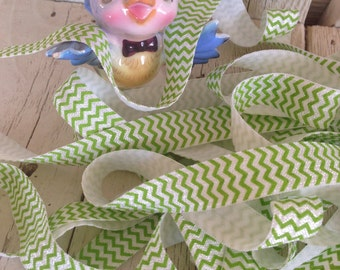 99 CENTS Sale--Elastic-Chevron Print LIME GREEN 5/8 inches  5  yards
