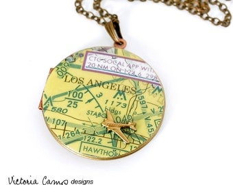 Aeronautical Los Angeles Map Necklace on Vintage Locket, Airplane, California, Brass Chain, Traveler - Ready to Ship