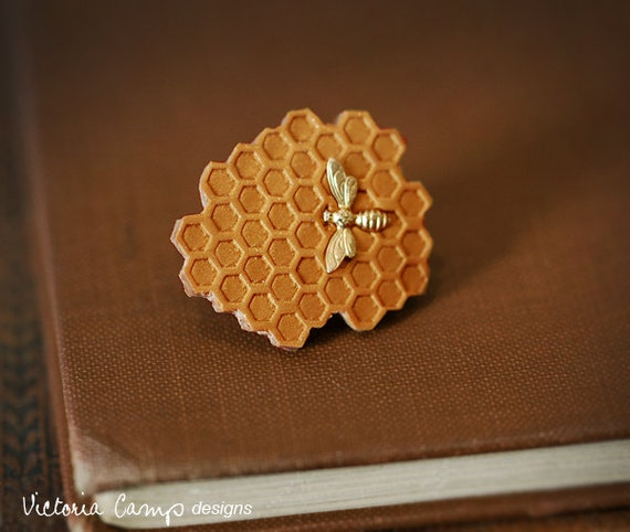 Tiny Gold Bee and Honeycomb Brooch - Clutch Pin - Gift For the Nature Lover - Beekeeper - Gift Under 30