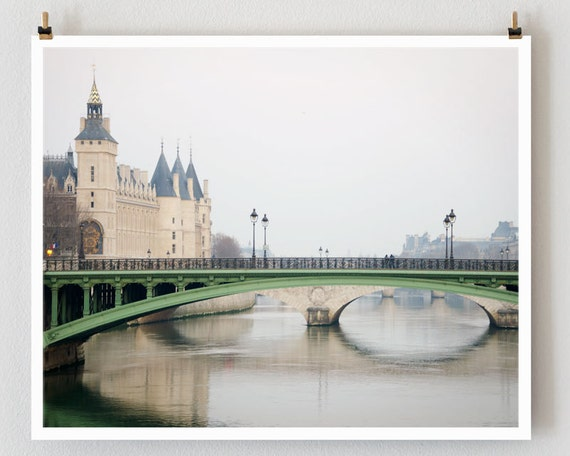 "Paris Photography, ""Conciergerie"" Paris Bridge Photo, Green Large Wall Art - TheParisPrintShop"