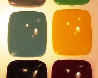 1 Smooth Vintage 40's Opaque Lucite/ Thermoplastic Resin Rectangular Cabochons 28X23mm!