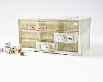Plastic Storage Box, Vintage Cabinet, Mid Century, Marbleized