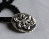 Rustic Flower Pendant  made of Sterling silver and black patina