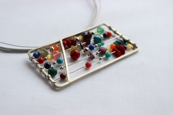 Extra large Abacus Pendant handmade with Sterling silver and colorful gems Perfect gift for a teacher