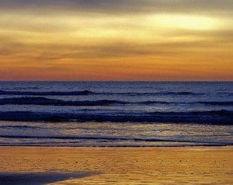 Sunset Dark Sky Reflection Seagull Fine Art Photography Orange Gold Blue Water Sky Oregon Coast Greeting Card GYPSY GULL by Spinning Castle