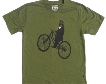 Men's Monkey Bicycle TShirt, in Army Green