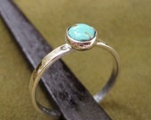Classic southwestern silver ring with turquoise gemstone - size 4 to size 5.5 in stock - other sizes by special order