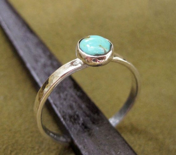 simple silver ring with turquoise gemstone made to order