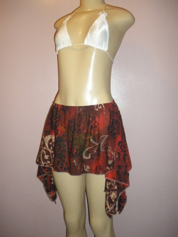 Fabulous Sheer Multiple Color Floral Print Women's Swim Suit Cover Up Skirt Uniquely Cut Size Small/Medium Can Be Worn Multiple Ways