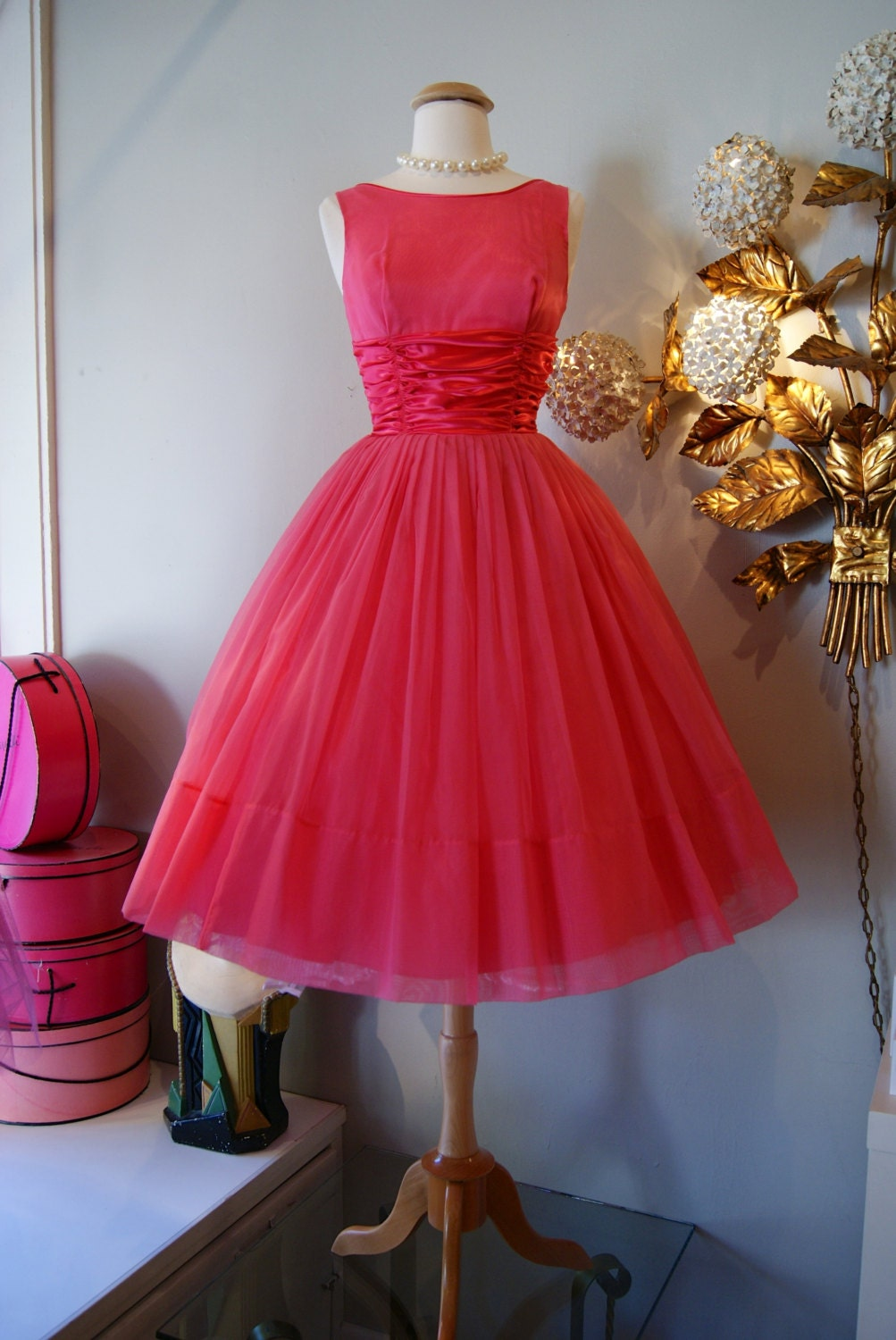 60s Dress Vintage 1960s Pretty In Pink Party Dress