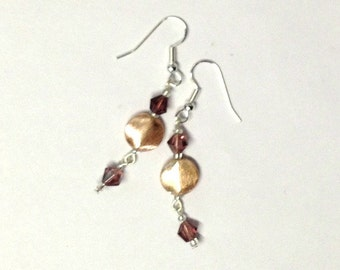 Beaded Purple Crystal Gold Plated Copper Earrings Dangle Drops Light Weight -- 60mm -- ER-BEAD-14