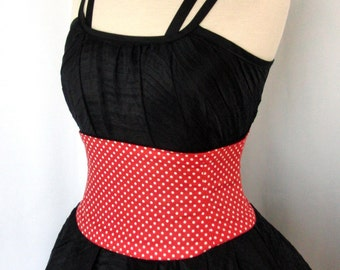 Any Size Retro Red Polka Dot Waist Cincher Corset Belt B