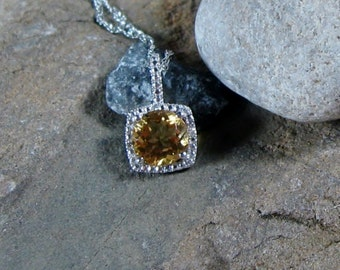 Citrine Gemstone Diamond Pendant Sterling Silver Necklace - Ready to Ship