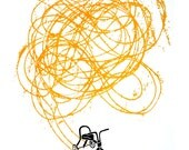 Original Wall Art, Vintage Screenprint, Nostalgic Trike Print - Freewheeling Sunny Yellow