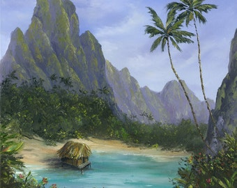 PARADISE LAGOON 24x20 Original Oil Painting Tiki Hut Hawaii Caribbean Tahiti Marquesas South Pacific Palm Tree Ocean Tropical Mountains