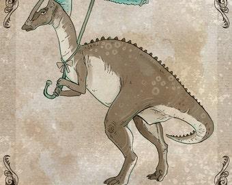 Parasololophous steamPUNk dinosaur art print 5x7