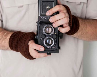 Mens Fingerless Gloves Dark Brown Mens Gloves Knit Gloves Mens Accessories Mens Hand Warmers Mens Arm Warmers Mens Fingerless Mittens