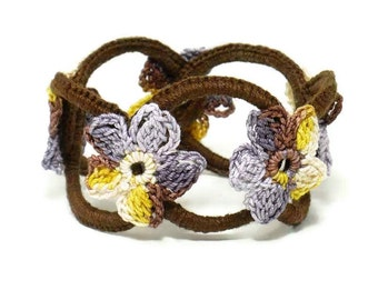 On Sale Marked Down 25% Crochet Bracelet Fiber Bracelet Chainmail Bracelet Brown Bangle Lavender Purple Yellow Crochet Flower