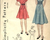 VINTAGE late 1930s or 1940s Simplicity Very Sweet GIRLS DRESS Pattern Size 6 Collar Options